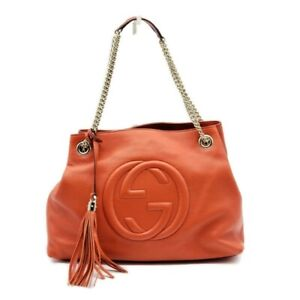 100% Auth Gucci Soho on Chain Medium Leather Shoulder Bag