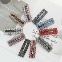 Fashion Crystal Hair Clip Women Colour Snap Barrette BB Hairpin Hair Accessories