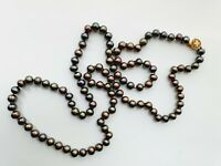 "Elegant 37"" Grey Freshwater Pearl Strand Beaded Necklace"