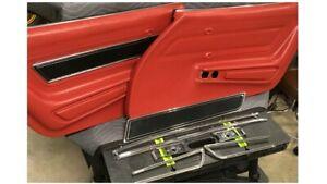 1970-1977 Corvette Door Panels, Red - Pair w/ Inner Door Glass Seals and Trim