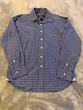 Boys Size Small 8-10 American Living Blue White Plaid Button Down Dress Shirt