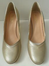 Women's New MINELLI gold en cuir talon haut à Enfiler Chaussures-Taille UK 4 EUR 37