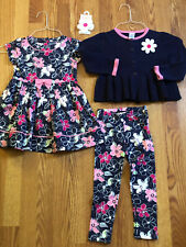Gymboree 4 Piece Floral Dress Sweater Leggings and Hair piece set Size 3T