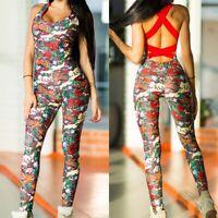 Womens Ladies Floral Sleeveless Jumpsuit Sport Yoga Gym Bandage Playsuit Romper