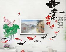 Chinese lotus fish Home Bedroom Decor Removable Wall Sticker Decal Decorations