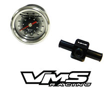 "0-100 PSI RACING FUEL PRESSURE GAUGE & 3/8"" INLINE HOSE END TEE ADAPTER BLACK E"