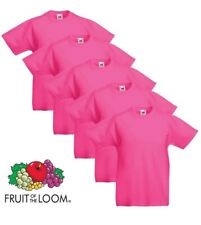 5 Pack Fruit Of The Loom 100% Cotton Plain Tee shirts T-Shirt bright pink XL #32
