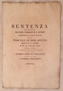 SENTENZA SEPARAZIONE OLIMPIA ROSSI MORANDINI VEDOVA PESCATORI DIVORZIO PISA 1812