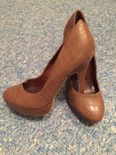 New Look brown faux snake skin leather style platform high heels UK 5 / EU 38
