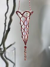 HANGING Iridescent GLASS HANGING FLOWER VASE ART Beads red UNIQUE GARDEN