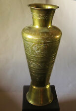 7488:Große MESSINGVASE,verziert,28,5cm. Mid Century, Ornamentik,Originalzustand.