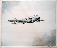 Vintage plane flying etching by Wayne Davis