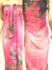 Beach SARONG Pareo Wrap dress Swimwear 175x145cm Cruise Resortwear OCEAN Pink