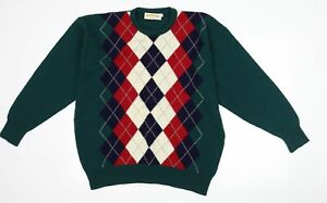 James Pringle Weavers Mens Green Argyle/Diamond  Pullover Jumper Size M