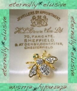 Designer Signed Bumble Bee Insect Bug Austrian Pave Set Bling Pin Vintage Style