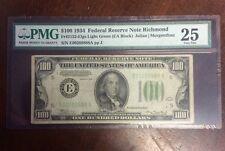 1934 $100 Federal Reserve Note Richmond PMG 25 FR 2152-E lgs Julian   Morgenthau