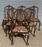 Set Of Six Early 20thC Chippendale Style Dining Chairs On Ball & Claw Feet