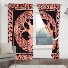Indian Red Celtic Mandala Curtain Window Cotton Balcony Treatment Drape Curtains