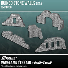 EnderToys Ruined Stone Walls Set A, Terrain Scenery for Tabletop 28mm Miniatures
