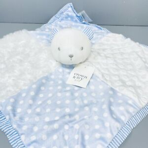 NEW Crown & Ivy Baby BEAR Security Blanket/Lovey BLUE WHITE Snuggle Toy