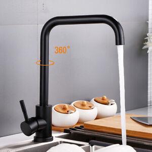Matt Black 304SS Basin Mixer Sink Kitchen Laundry Faucet Tap Spout 360° Swivel