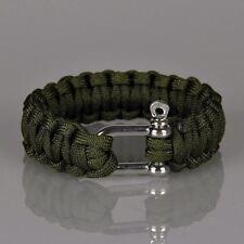Camping Mens Outdoor Cord Rope Nautical Sailing Bracelet DARK GREEN