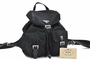 Authentic PRADA Nylon Leather Backpack Black D8989
