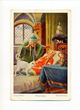 Antique Postcard, Sleeping Beauty, fairy casting spell, cat, a/s Otto Kubel