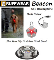 Ruffwear Beacon Multi Coloured Dog Collar Light USB Rechargeable & Non Slip Bowl