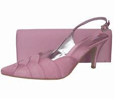 Ladies Wedding Party Heel Shoe Evening Shoes Diamante Pale Light Pink Satin NEW