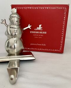 Pottery Barn Kids Snowman Dad Silver Mantle Stocking Holder