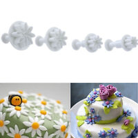 4Pcs Flower Plunger Cookie Cutter Biscuit Cake Decorating Baking Mould Mold Tool