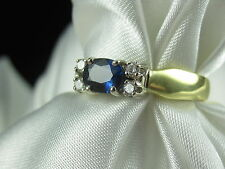 SPARK Creations Blue Sapphire G/VS Diamond Ring Band 18K Yellow Gold Fine