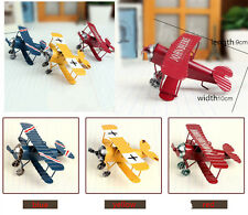 Vintage Metal Plane Model Airplane Model Toy Home Decor 3 Colors Blue Yellow Red