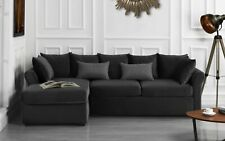 Velvet Sectional Sofa w/ Removable Back Pillows, Left Facing Chaise, Dark Grey