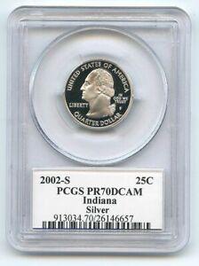 2002 S 25C Silver Indiana Quarter PCGS PR70DCAM