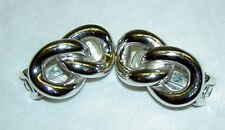 Vintage 1980's CHRISTIAN DIOR Silver Tone Chain Link Clip On Earrings