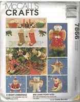 UNCUT McCalls Vintage Sewing Pattern Christmas Bears Ornaments 7866 FF