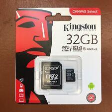 Kingston Micro SD Tarjeta de memoria SDHC de 32GB Teléfono Móvil clase 10 Con Adaptador Sd