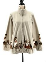 Blair Womens Fleece Jacket Beige XL 1X Puppies Dogs Zipper