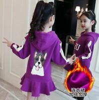 Girls' sweater dress new autumn winter wear children's thick cartoon hooded