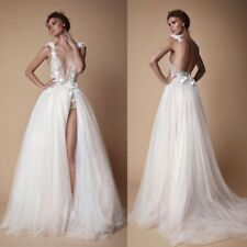 Wedding Dresses A Line Bridal Ball Gowns Sleeveless Formal White V Neck Custom