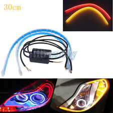 2x 30cm Ultra Thin Soft Car LED Red/Yellow DRL Headlight Strip Light Sequential