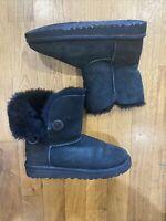 UGG Mini Bailey Button II Women's Boots Size 2 (Black)