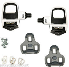 NEW LOOK KEO CLASSIC 2 Road Pedals with Gray Grip Cleats: WHITE / BLACK
