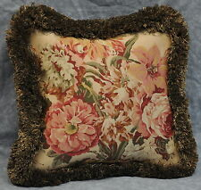 """Pillow made w Ralph Lauren Guinevere Medieval Brown Floral Fabric 12"""" fringe NEW"""