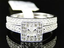 Ladies White Gold Princess Solitaire Diamond Engagement Wedding Bridal Ring Set