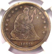 1861-S Seated Liberty Quarter 25C - Certified NGC VF Details - Civil War Coin!