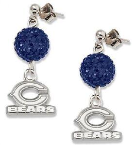 Chicago Bears Bling Earrings Jewelry Crystal Jewelry