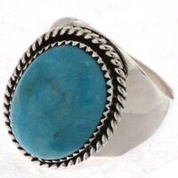 NAVAJO Genuine Natural Turquoise Heavy Gauge Sterling Silver Men's Ring Any Size